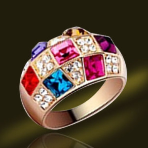 Colorful CZ ring