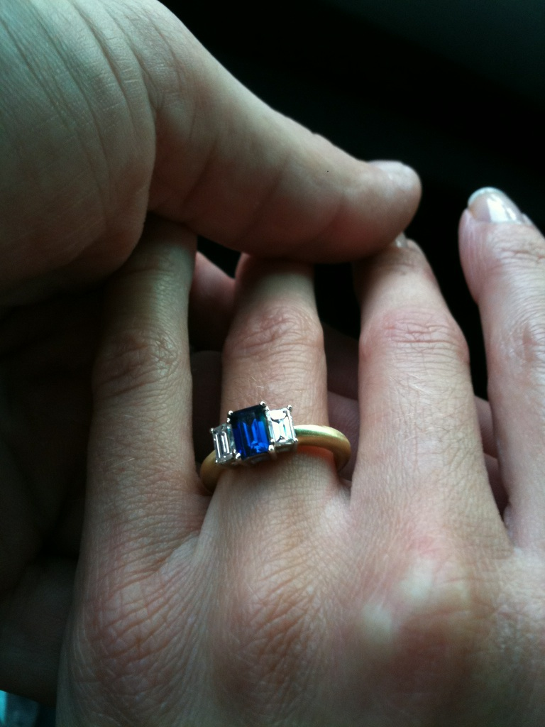 Baguette-cut-Blue-Sapphire-and-baguette-cut-Diamond-Engagement-Ring