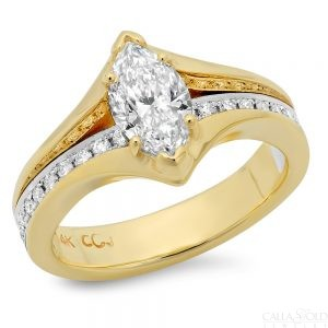 Yellow Gold and Marquis diamond wedding ring with channel set diamonds