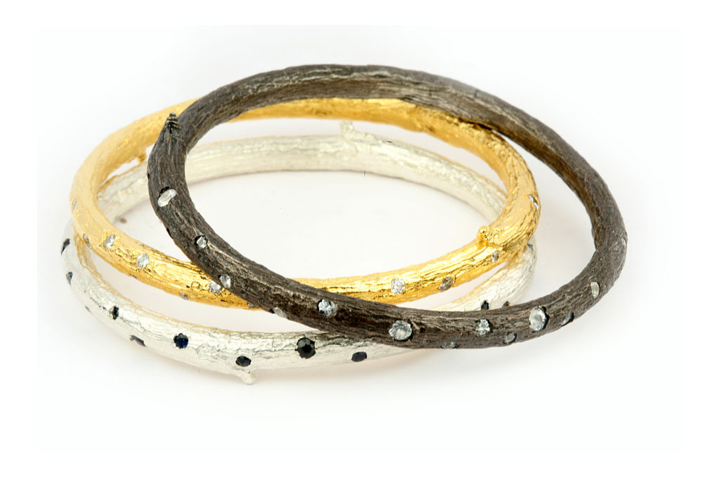Three Bangles with inlay Diamonds