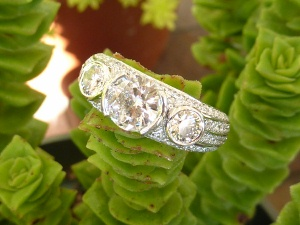Wedding ring with rows of pave leading to three main diamonds by Calla Gold Jewelry