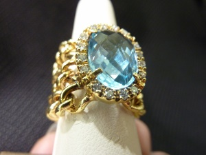 Flexible Ring with Blue Topaz and Diamonds