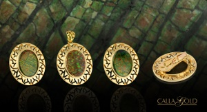 Ammonite Gem in Yellow Gold