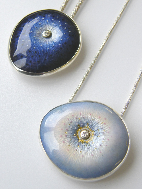 Gorgeous Light and Dark Blue Enamel Jewelry by Ruth Ball