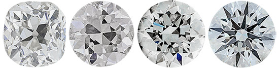 Four diamonds with old to new cuts