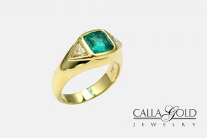 Three Bezel Setting Emerald and Diamond Ring