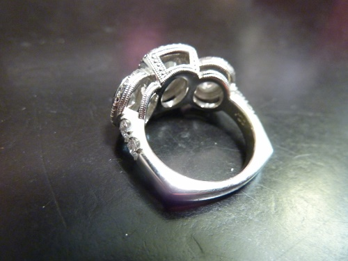 Three Diamond Ring shown from the side with square shank