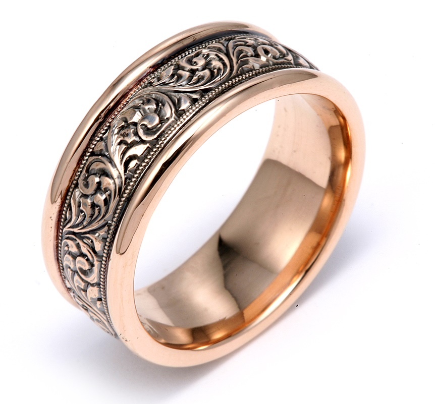 Rose Gold With Hand Engraving and Black Rhodium Wedding Band