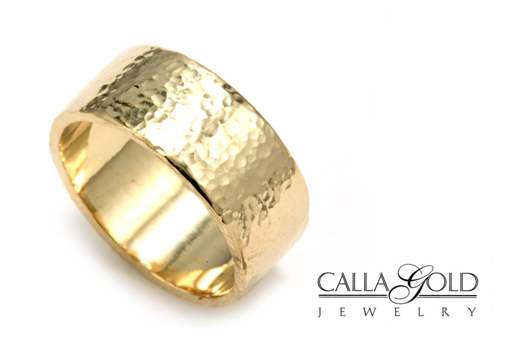 Hammered flat top wedding band in 14kt yellow gold by Calla Gold Jewelry