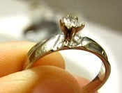 Engagement Ring with bent away prong