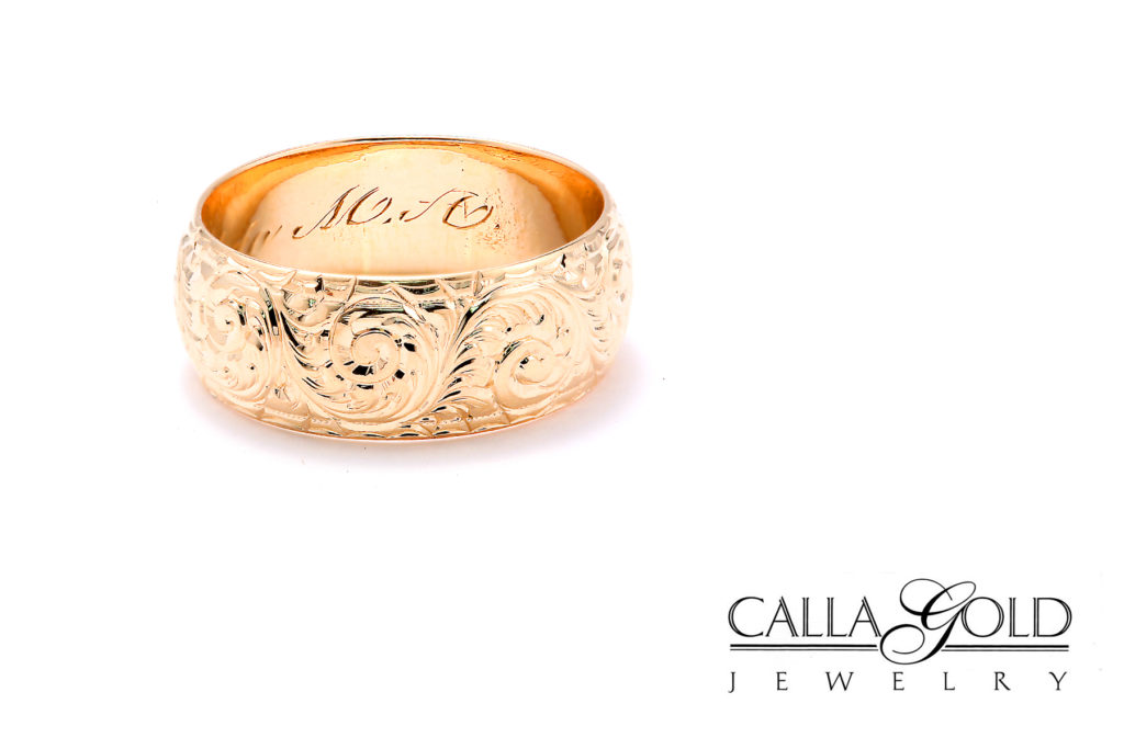 Gold domed wedding band with hand engraving, Calla Gold Jewelry