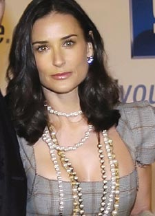 Demi Moore in Real Fresh Water Pearls, Layered and Gorgeous.