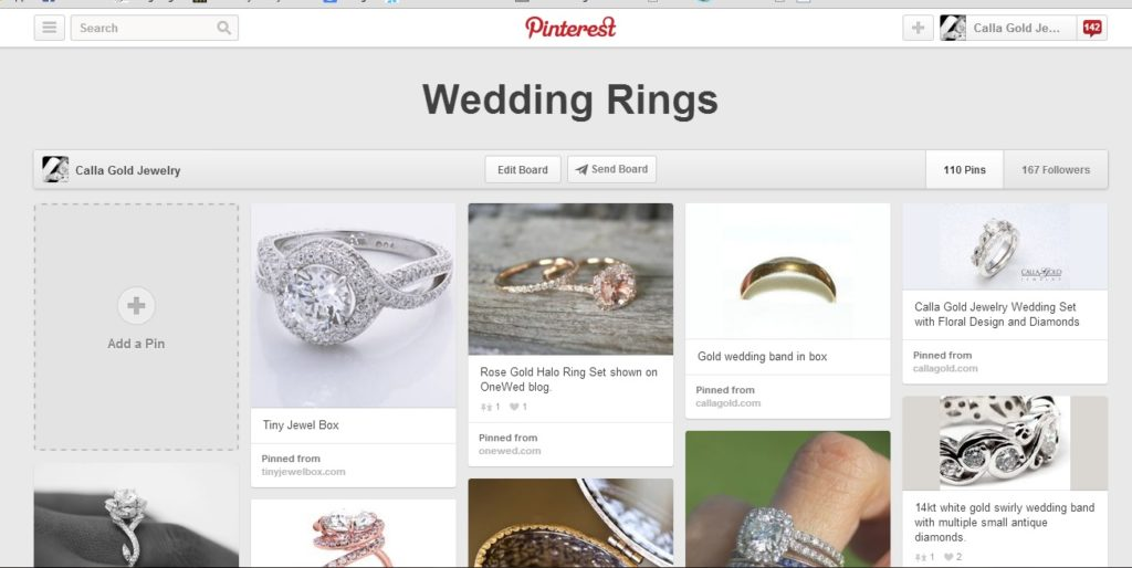 Close up picture of Pinterest page with Wedding Rings