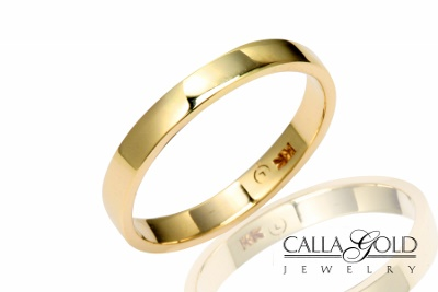 4mm yellow gold flat top band ring
