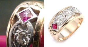Before and after of damaged ruby and diamond vintage ring restored