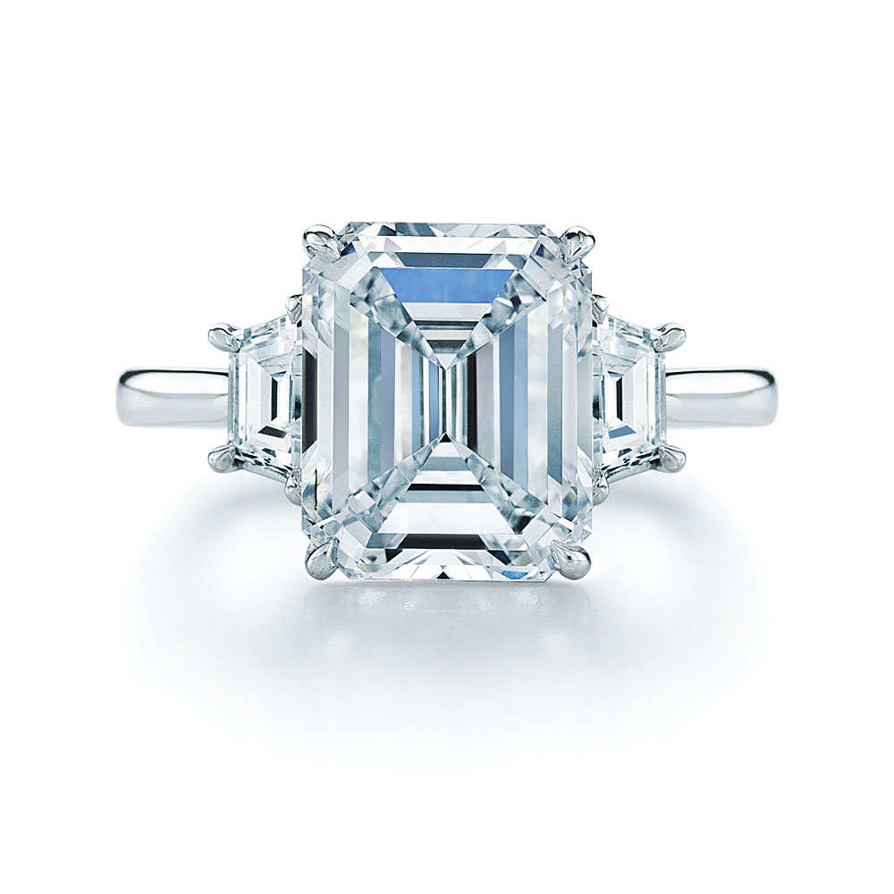 Emerald cut diamond in ring