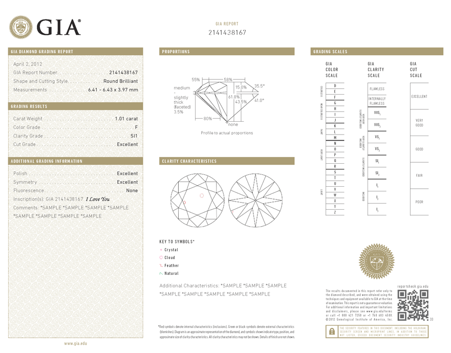 Certificate From GIA the Diamond Diagrammed in the Center