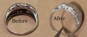 Before and after picture of vintage ring reengraved
