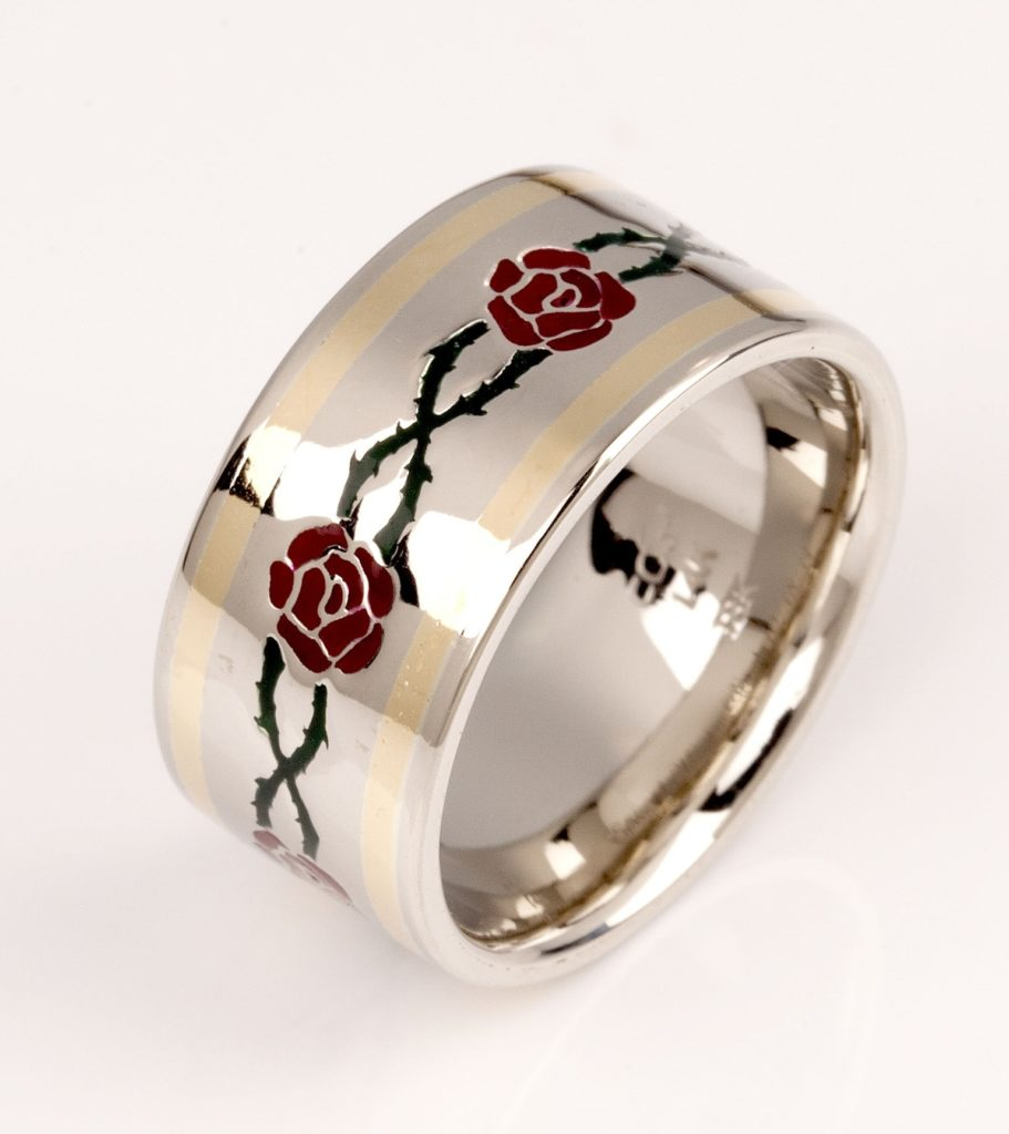 Edbbie's White Gold And Yellow Gold with Green and Red Enamel Roses Wedding Band