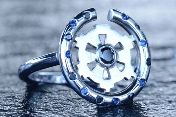 14K White Gold Star Wars Imperial Insignia Inspired Engagement Ring set with Black Diamonds and Blue Sapphires, by Vala Jewellery