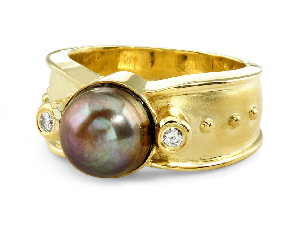 Matte Finish With High Polished Edges with Pearl Ring - Calla Gold Jewelry
