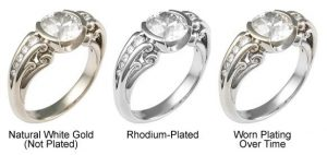 Three Rings with different levels of rhodium plating wear