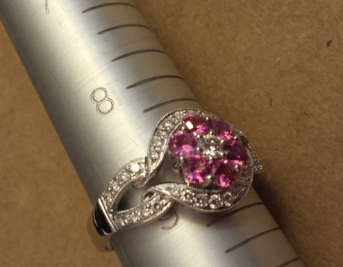 Pink Sapphire and Diamond Ladies Ring