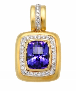 Satin Finish Calla Gold Jewelry, Tanzanite and Diamond Enhancer Pendant with Satin Finish