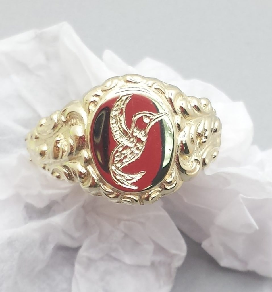 Hand Engraved Hummingbird on Art Nouveau inspired Signet Ring.