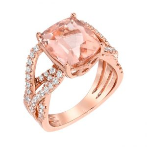 Rose gold morganite ring with diamonds in the band