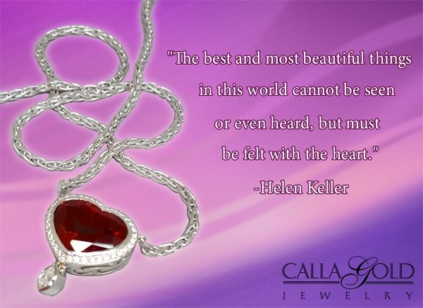 Gems of Wisdom Garnet Heart Necklace and Helen Keller