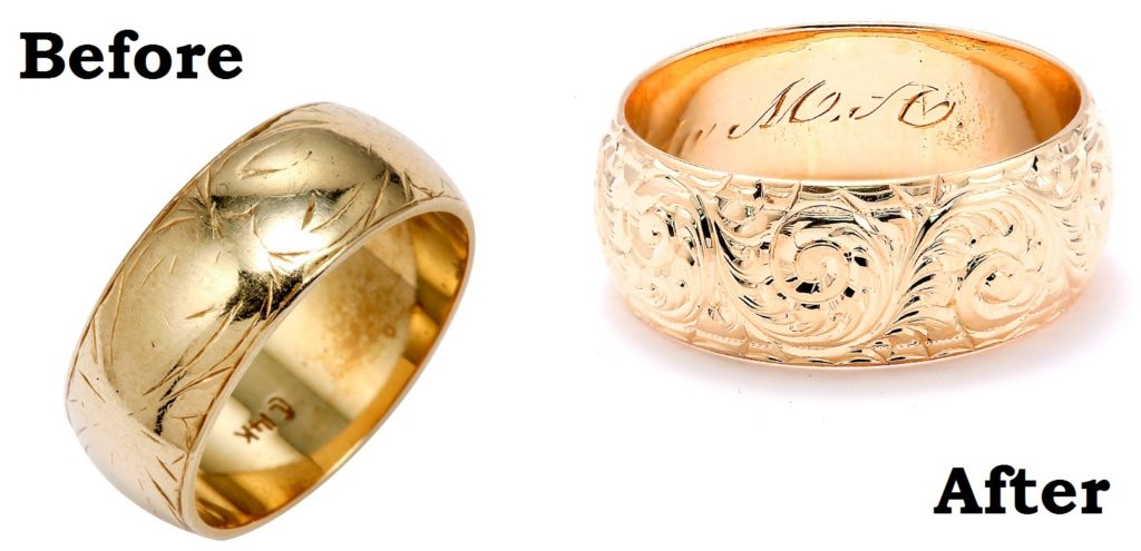 Wedding Band Engraving before and after