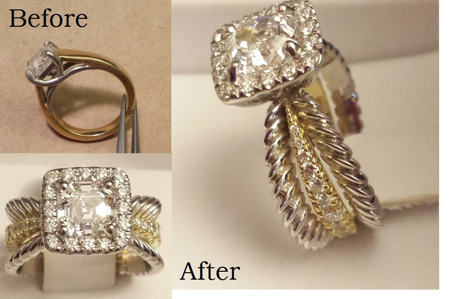 Before and after of three ring style ring