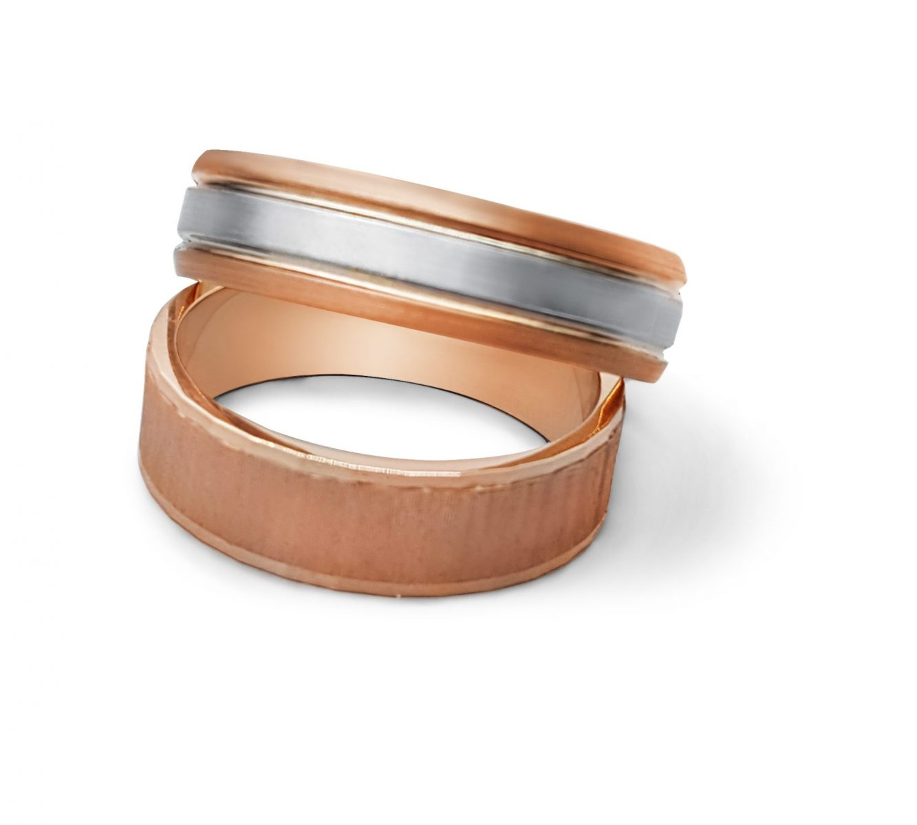 Two rose gold men's wedding bands. Great for an LGBT couple