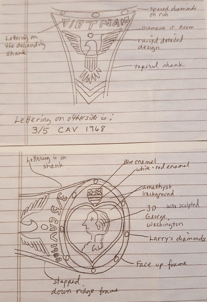 Jewelry drawings for Purple Heart Ring