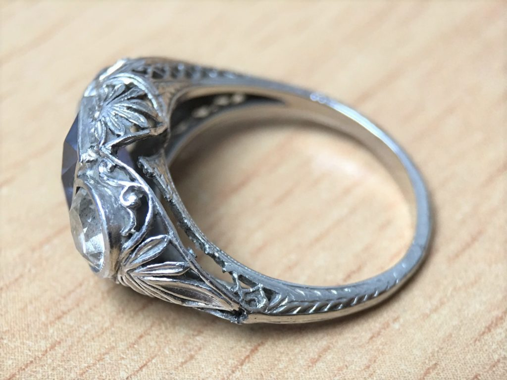 Antique ring, broken filigree