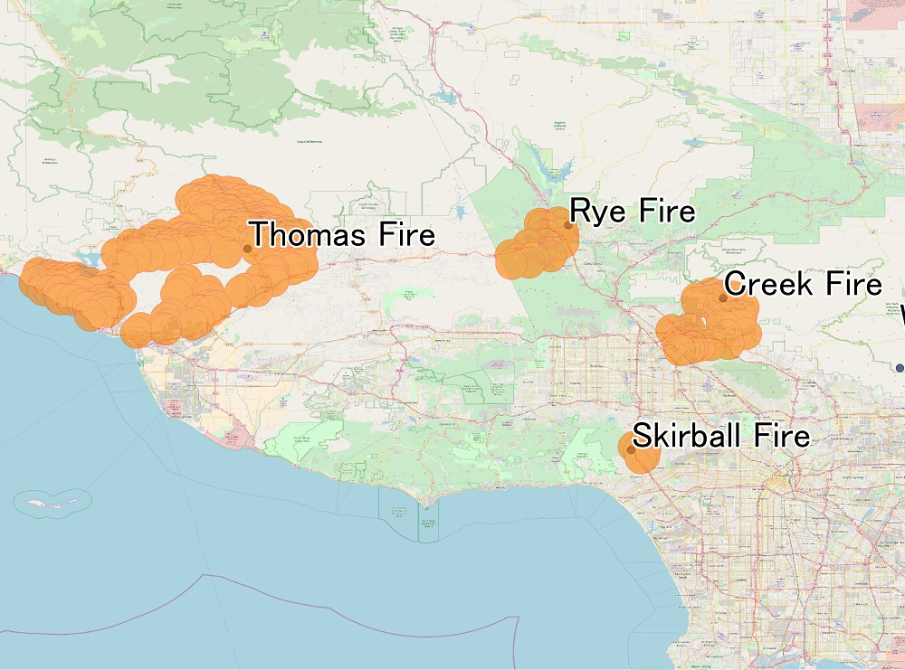 Thomas Fire map California