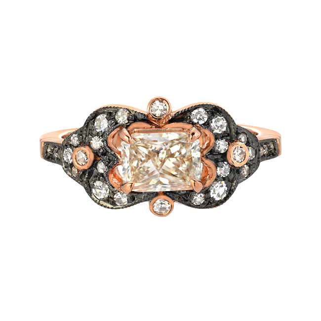 Rose gold diamond ring with black oxidation