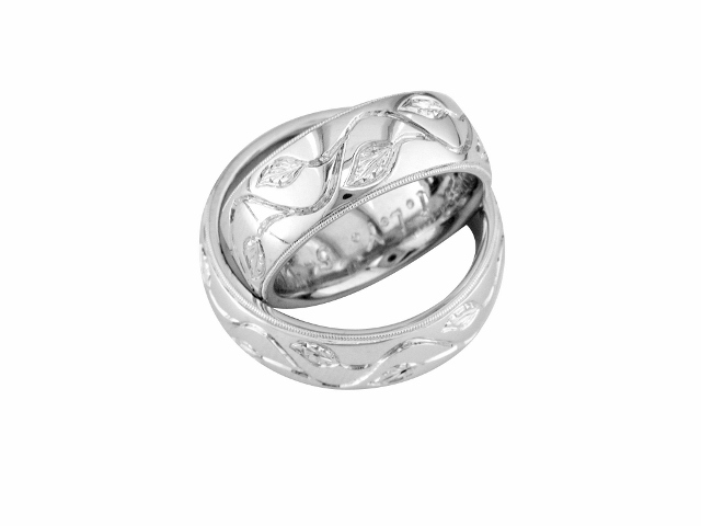 Platinum-wedding-bands with hand engraving with leaf motif