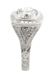 Trillian diamond on side of mega diamonds engagement ring
