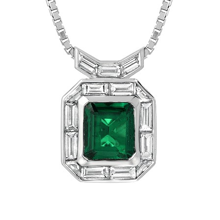 Emerald and baguette diamonds pendant with baguettes bail Calla Gold Jewelry