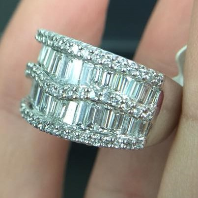 Two row baguette diamond ring