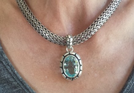 woman wearing custom designed aquamarine pendant|CAD design aquamarine pendant|