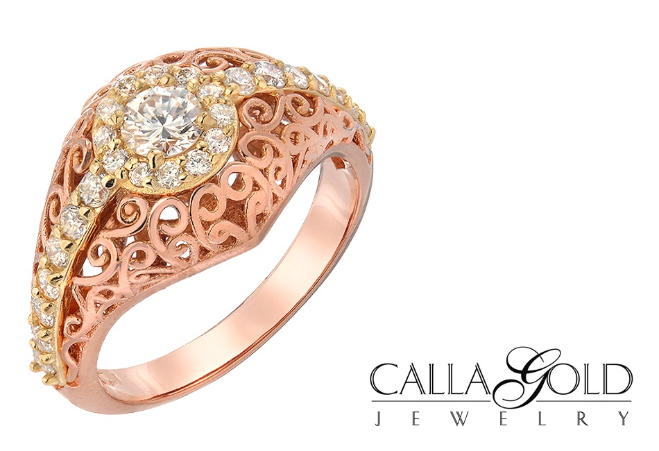 |||rose gold engagement ring|CAD ring design