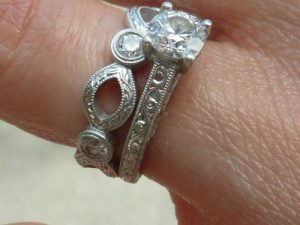 Platinum wedding set with hand engraving
