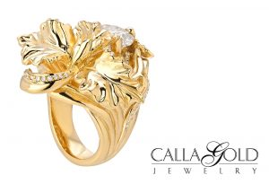 Yellow gold detailed Orchid ring with diamonds