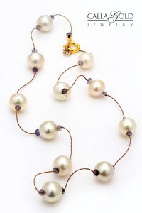 Pearl and sapphire beads Tin Cup style necklace
