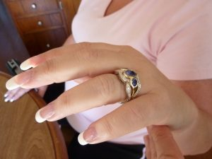 Yellow Gold Bezel set Sapphires and white gold Diamond ring
