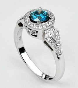 Blue Diamond Engagement Ring with angular side elements with kite shaped diamonds