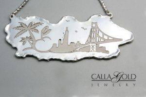 Sterling Silver Custom Necklace with pictures of places the couple lived